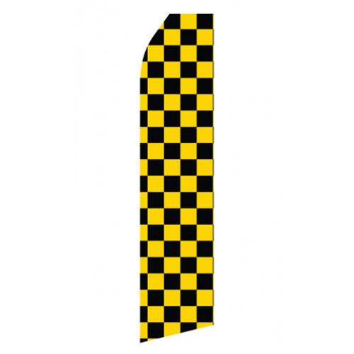 Black and Yellowed Checkered Econo Stock Flag