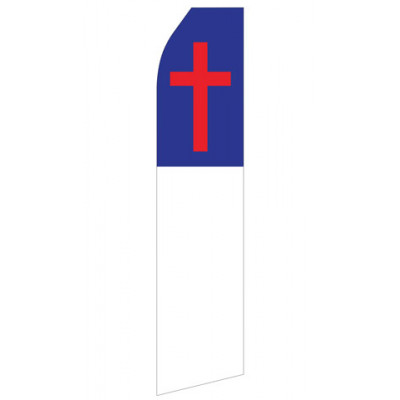 Blue Red White Cross Econo Stock Flag