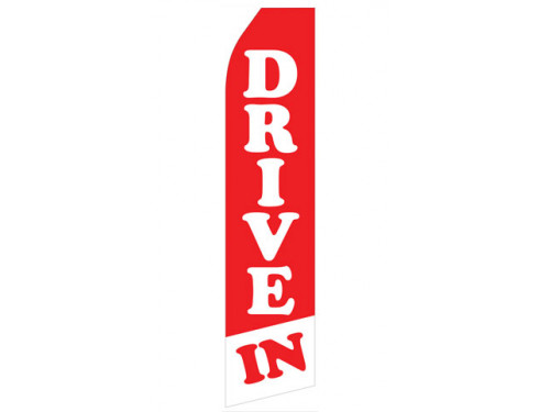 Red and White Drive In Econo Stock Flag