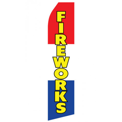 Red, White, and Blue Fireworks Econo Stock Flag
