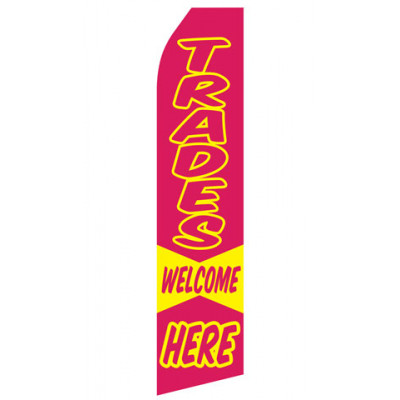 Trades Welcome Here Econo Stock Flag