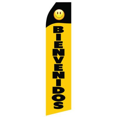 Black Yellow Bienvenidos Econo Stock Flag