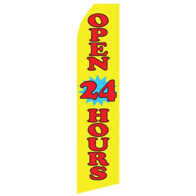 Yellow Open 24 Hours Econo Stock Flag